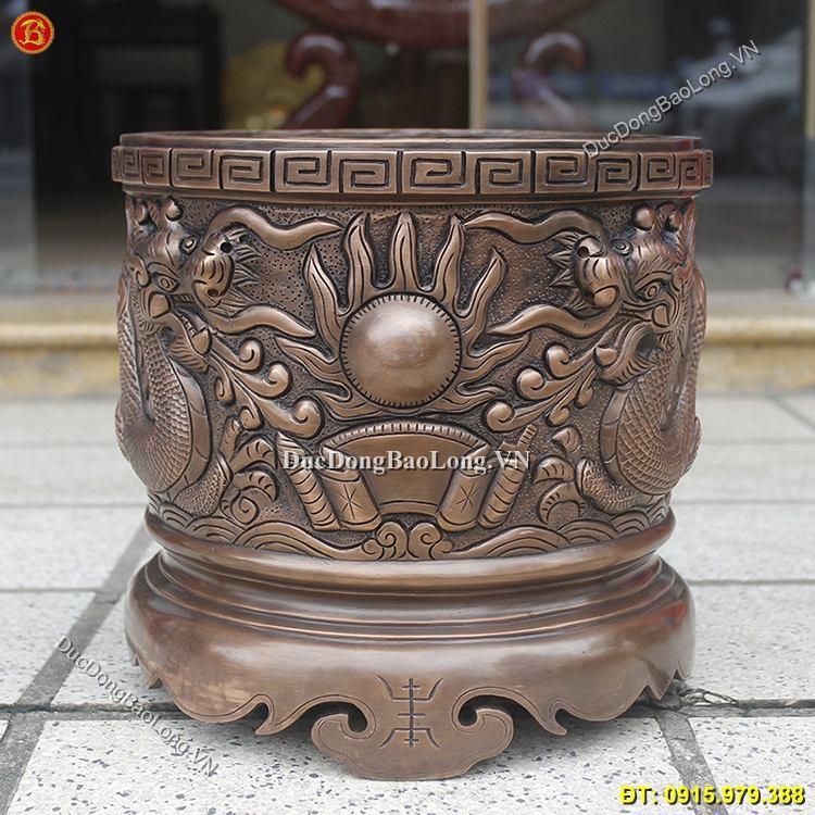 Bát Hương Bằng Đồng Đúc Rồng Nổi 30cm