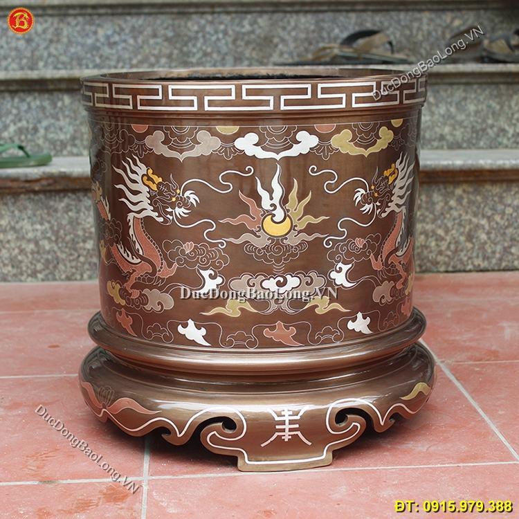 Bát Hương Đồng Khảm Ngũ Sắc 35cm
