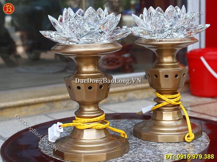 Đèn Đồng Hoa Sen Thờ Cúng 30cm