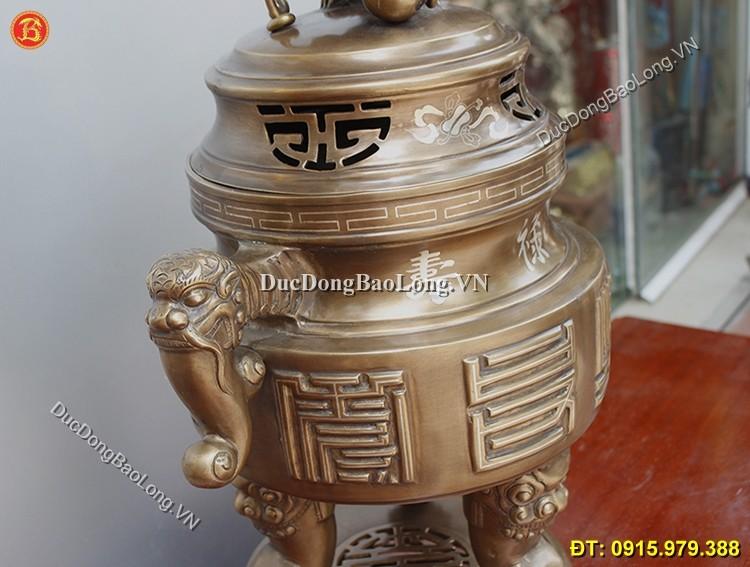 Đỉnh Đồng Tai Cui Khảm Bạc Cao 65cm