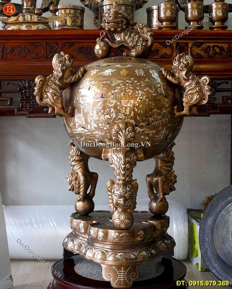 Đỉnh Đồng Thất Lân Khảm Tam Khí Cao 90cm