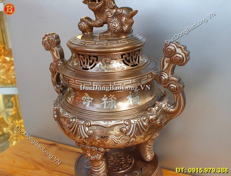 Đỉnh Thờ Khảm Tam Khí Cao 50cm Khảm Kỹ