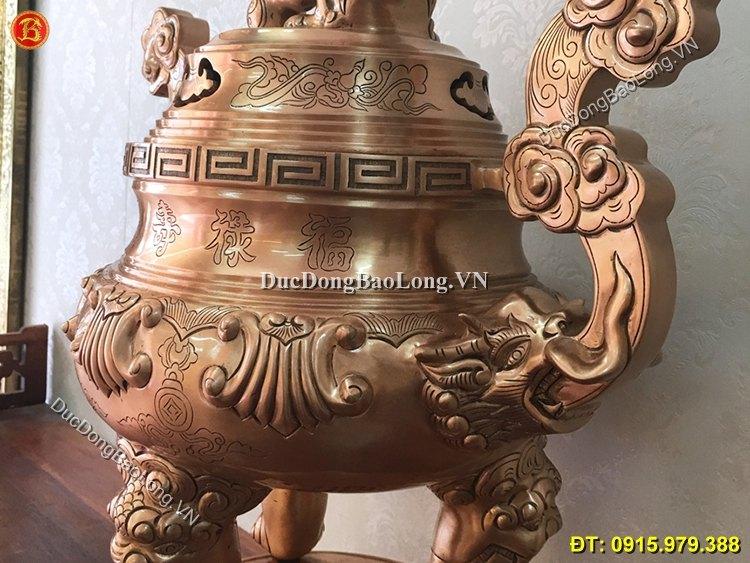Đỉnh Đồng Thờ Cúng 60cm Ám Hoa Văn Dơi Tiền