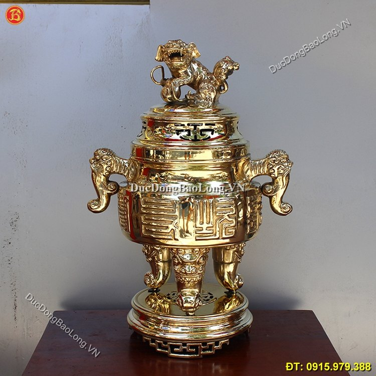 Đỉnh Thờ Đồng Vàng Tai Cui Cao 65cm