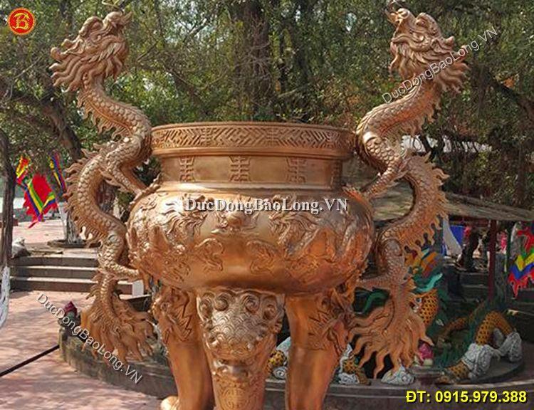 Lư Hương Đồng Tai Rồng Cỡ Lớn