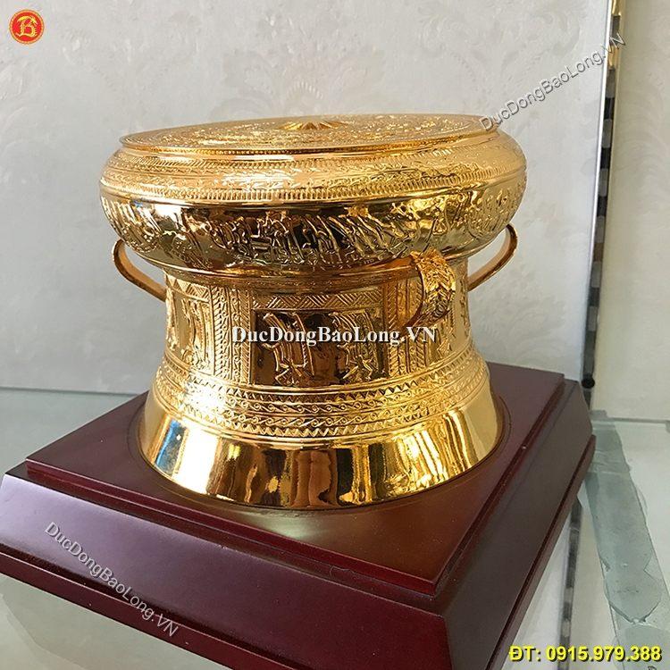 Quả Trống Đồng Quà Tặng Mạ Vàng 24k 15cm