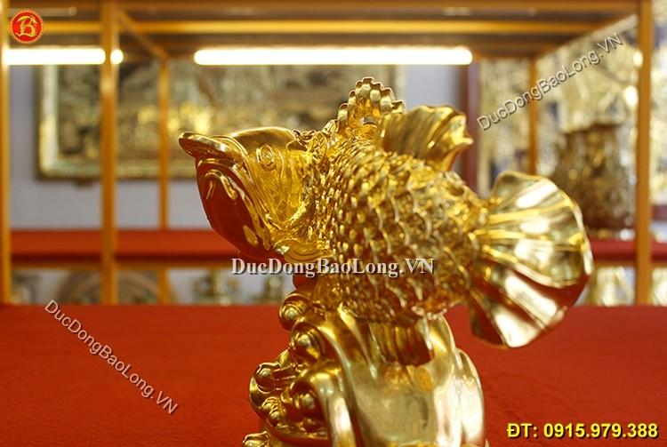 Cá Rồng Bằng Đồng Dát Vàng Phong Thủy