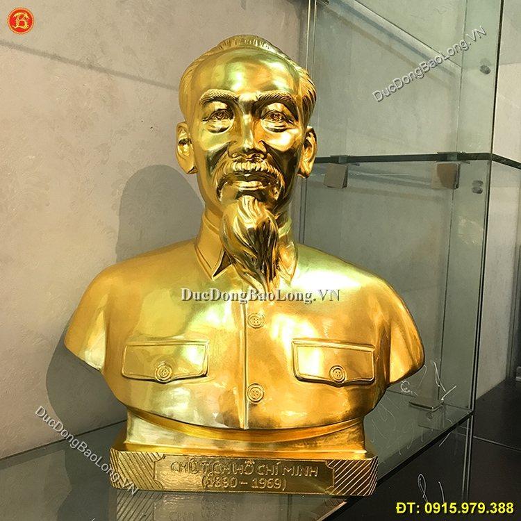 Tượng Đồng Bác Hồ Dát Vàng Cao 50cm