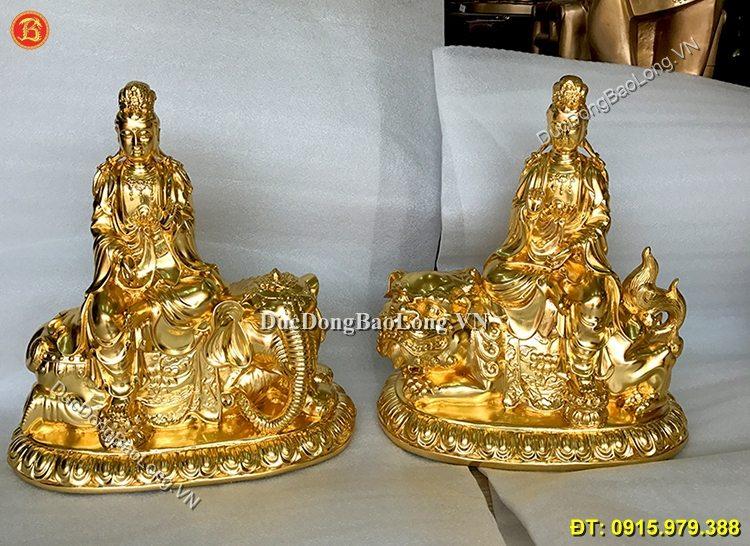 Tượng Đồng Văn Thù Phổ Hiền Dát Vàng 9999