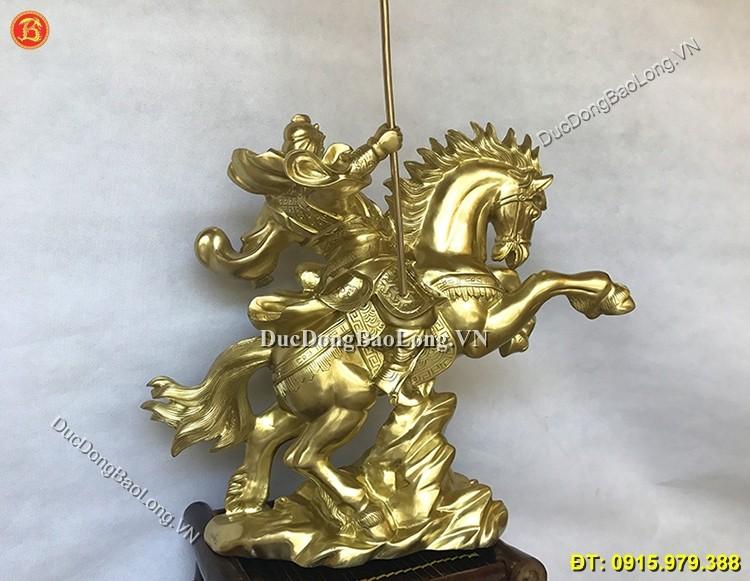 Tượng Quan Công Cưỡi Ngựa 48cm Đồng Cát Tút