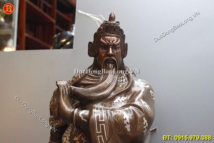 Tượng Quan Công Khảm Tam Khí Cao 70cm
