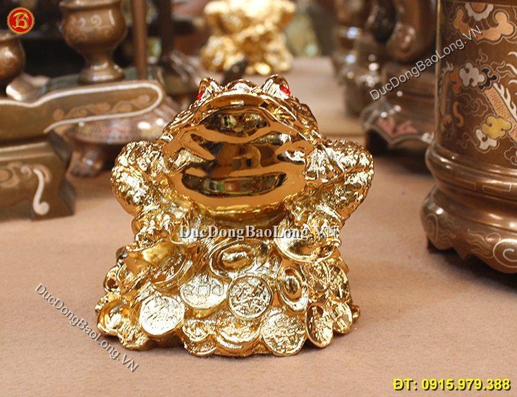 Cóc Ngậm Tiền Bằng Đồng Mạ Vàng 14cm