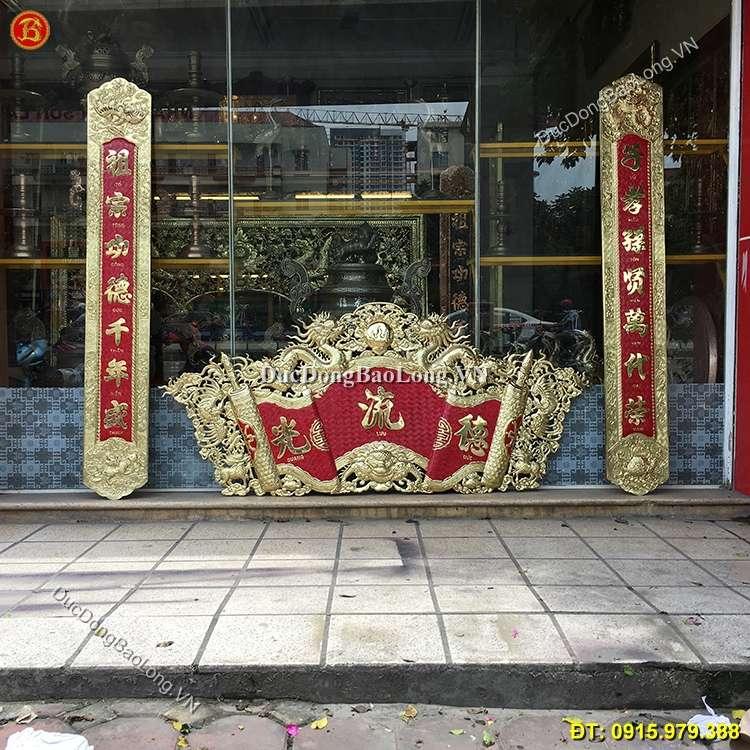 Cuốn Thư Câu Đối Bằng Đồng Vàng Dài 1m97