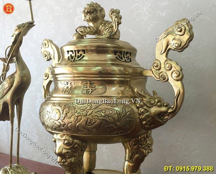 Ngũ Sự Đỉnh Rồng Phượng 50cm Bằng Đồng Catut
