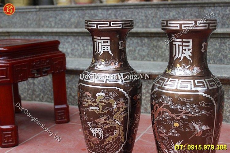 Lọ Hoa Khảm Ngũ Sắc Tùng Hạc Cao 42cm
