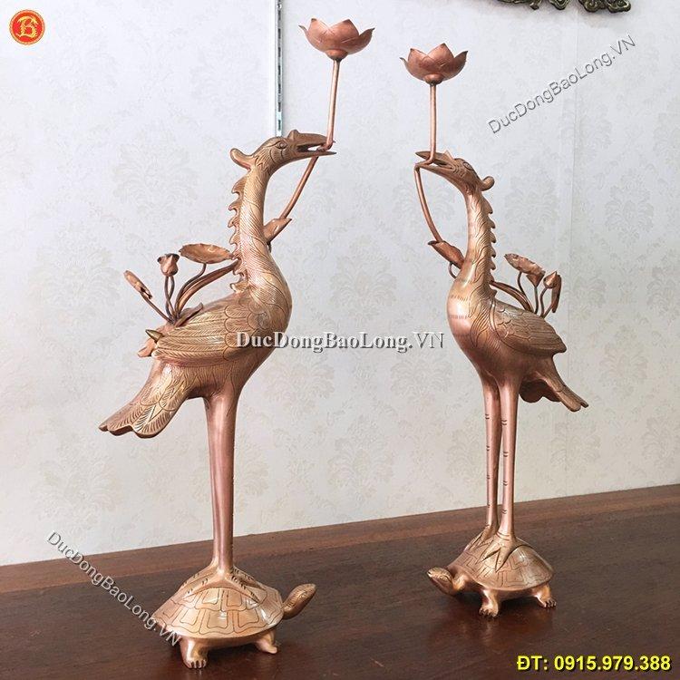 Hạc Đồng Ám Hoa Văn 60cm Thờ Cúng