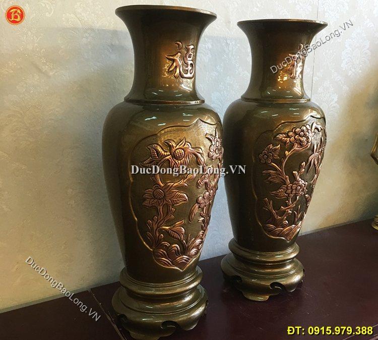 Lọ Hoa Đồng 50cm Đúc Thủ Công Bằng Đồng Đỏ