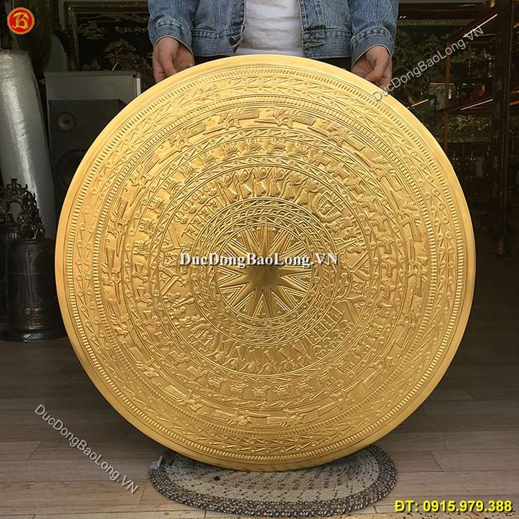 Mặt Trống Đồng Dát Vàng 81cm