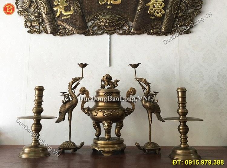 Bộ Ngũ Sự Đỉnh Sòi Hun Giả Cổ Cao 50cm