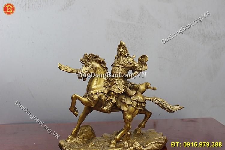 Tượng Quan Công Cưỡi Ngựa Bằng Đồng 22cm
