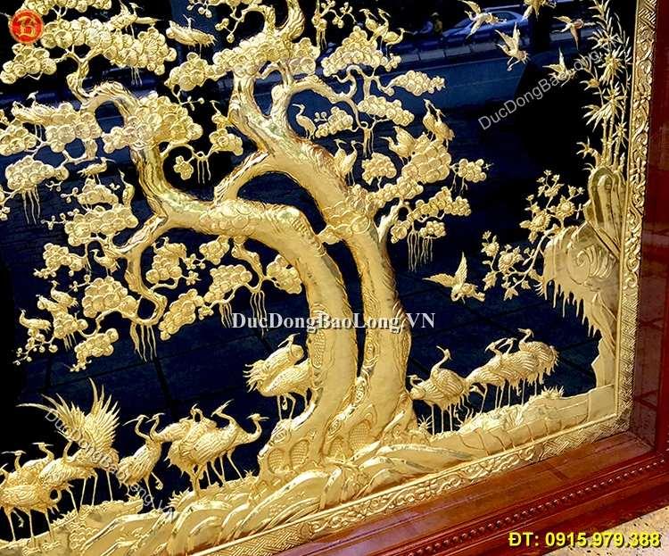 Tranh Đồng Bách Hạc Quần Tùng Mạ Vàng 24k