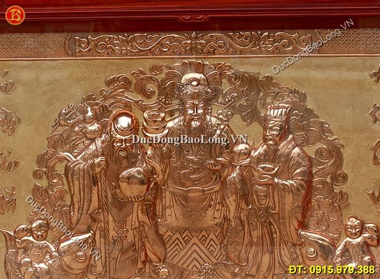 Tranh Đồng Phúc Lộc Thọ Khung Hương Đỏ 1m33