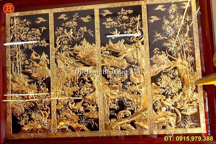 Tranh Tứ Quý Liền Mạ Vàng 24k Dài 1m76 x 1m27
