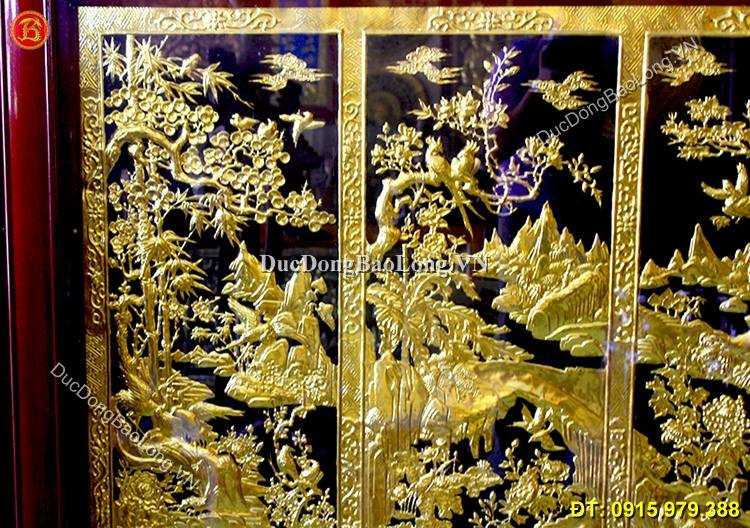 Tranh Đồng Tứ Quý Mạ Vàng 24k Mai Lan Cúc Trúc