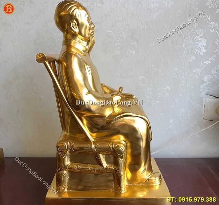 Tượng Bác Hồ Ngồi Đọc Báo Dát Vàng Cao 42cm