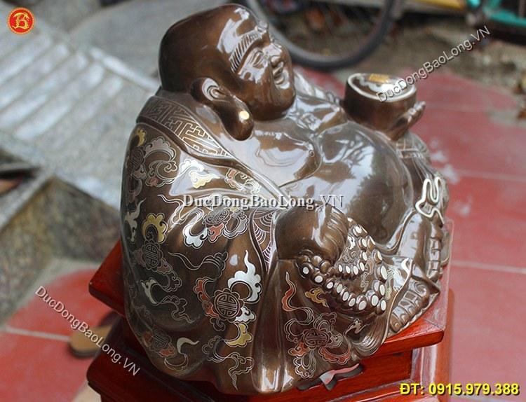 Tượng Đồng Di Lặc Khảm Ngũ Sắc Cao 23cm