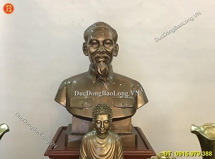 Tượng Đồng Chân Dung Bác Hồ 81cm