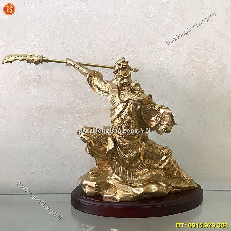 Tượng Đồng Quan Công Múa Võ Vung Đao 30cm