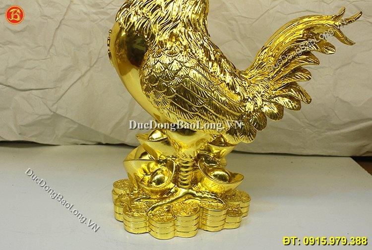 Tượng Gà Bằng Đồng Thếp Vàng 9999 Cao 37cm