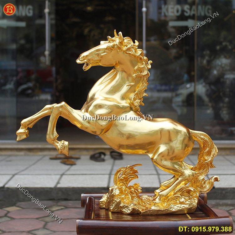 Tượng Ngựa Bằng Đồng Dát Vàng Cao 45cm