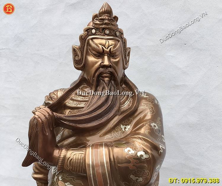 Tượng Quan Công Bằng Đồng Khảm Tam Khí 70cm