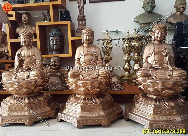 Tượng Tam Thế Phật Đúc Bằng Đồng Đỏ
