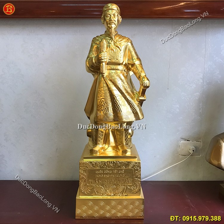 Tượng Trần Hưng Đạo Bằng Đồng Dát Vàng 75cm