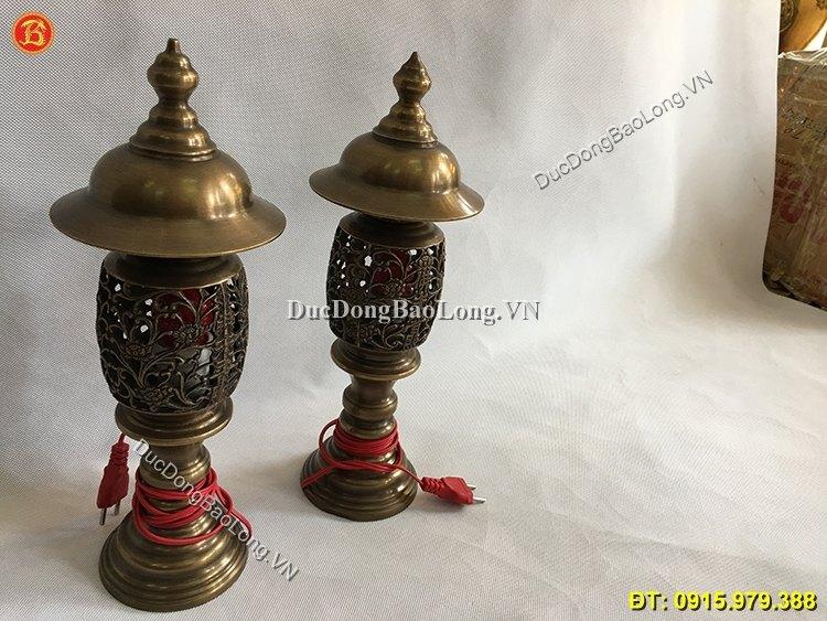 Đèn Thờ Cắm Điện Đồng Hun Cao 37cm