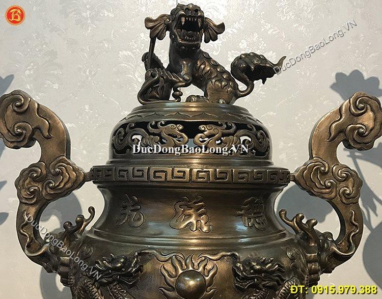 Đỉnh Đồng Long Phụng Hun Giả Cổ 70cm