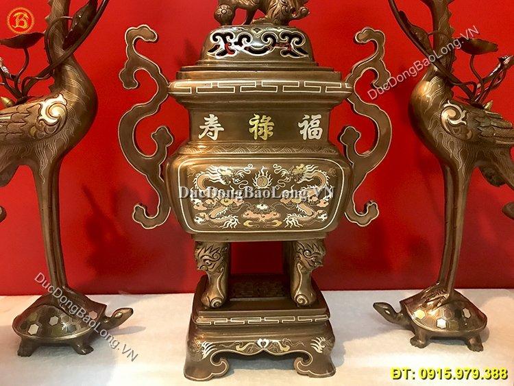 Ngũ Sự Đỉnh Vuông Khảm Tam Khí Cao 50cm