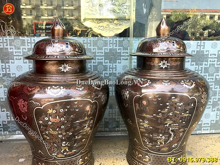 Đôi Chóe Bằng Đồng Khảm Tam Khí Cao 58cm