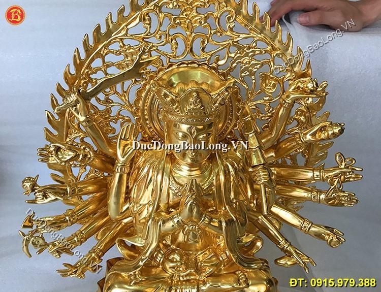 Tượng Đồng Chuẩn Đề Dát Vàng 40cm