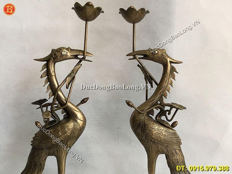 Hạc Thờ Bằng Đồng Hun Giả Cổ Cao 60cm