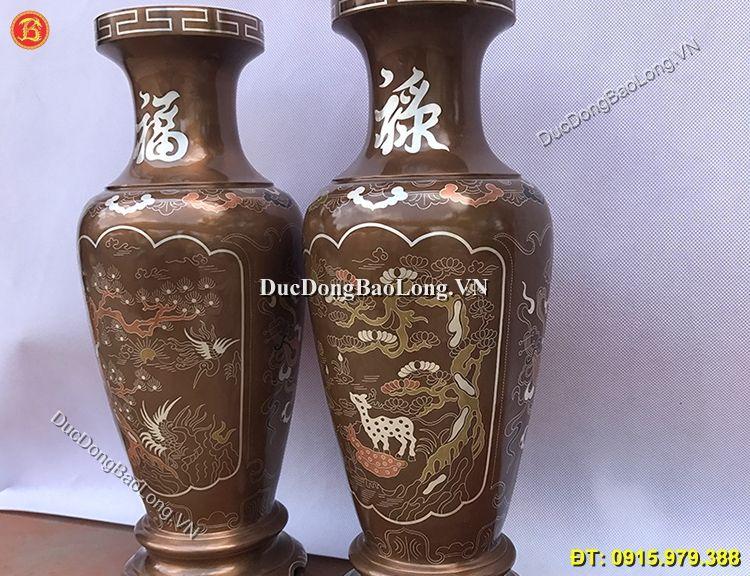 Lọ Hoa Đồng Khảm Tam Khí 42cm