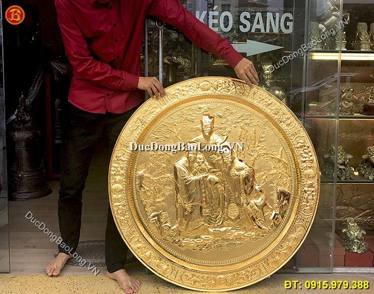 Mâm Đồng Tam Đa Mạ Vàng 1m