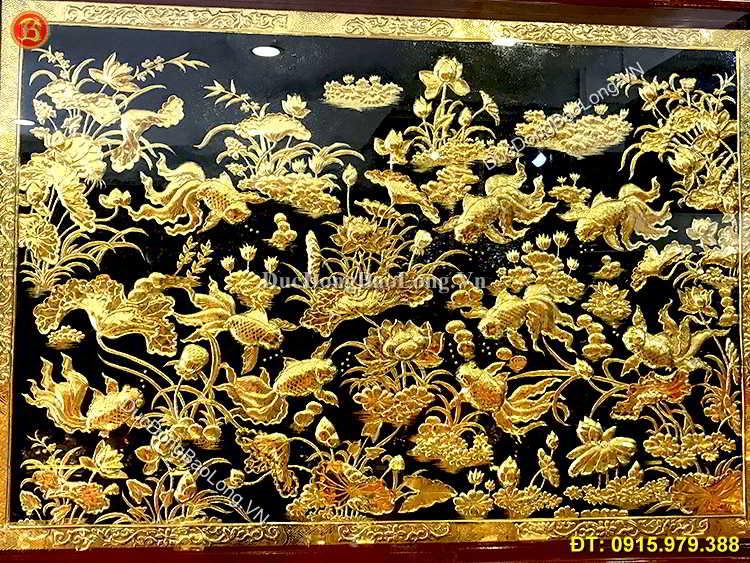 Tranh Cá Chép Hoa Sen Mạ Vàng 24k 1m47