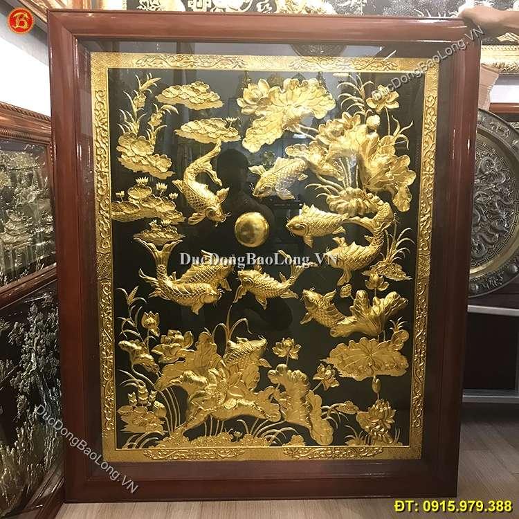 Tranh Cửu Ngư Hoa Sen Mạ Vàng 24k Cao 1m27