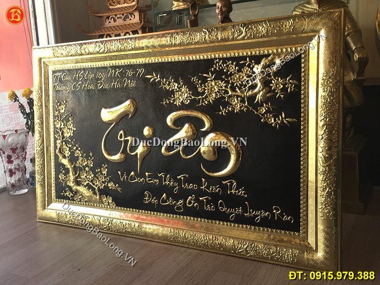 Tranh Chữ Tri Ân Bằng Đồng 1m07 x 68cm