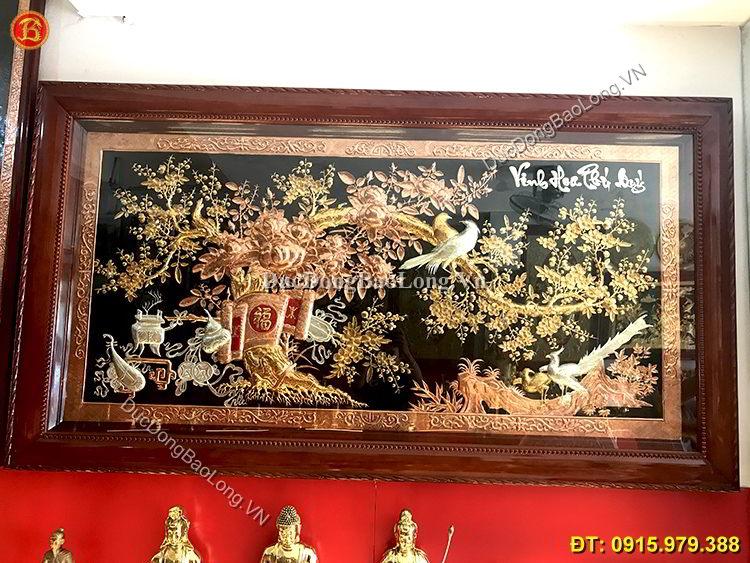 Tranh Vinh Hoa Phú Quý Mạ Điểm Vàng Bạc 2m3
