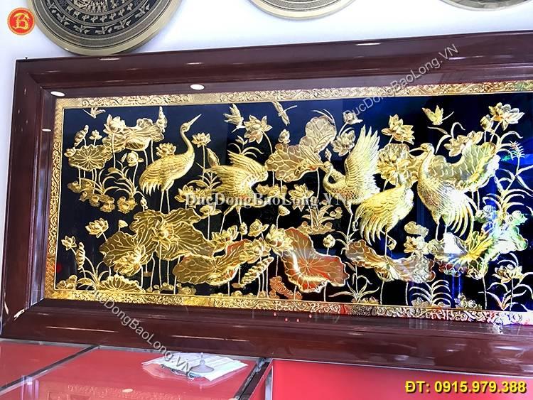 Tranh Đồng Sen Hạc Mạ Vàng 24k Dài 1m76